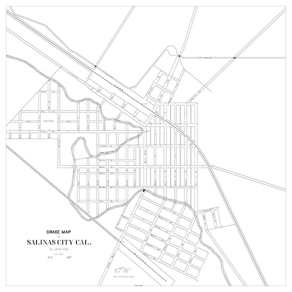 Grade map for the City of Salinas, dated May 1878, St. John Cox, Surveyor